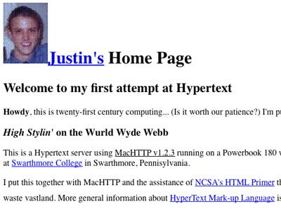 An early example of Justin Hall's homepage, links from the underground