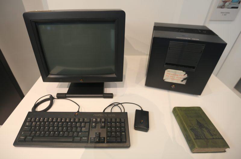 A NeXTcube computer running the first web server