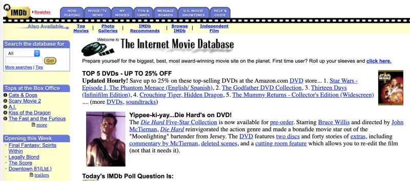 A screenshot of IMDb's homepage in the early 2000's