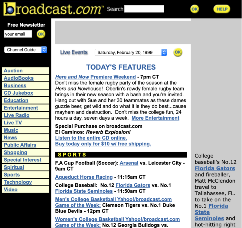 Broadcast.com in the early 2000's