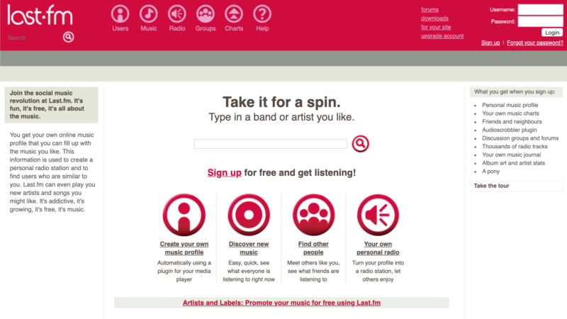 A screenshot of the Last.fm site from 2003