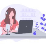 Illustration of woman listening to radio online