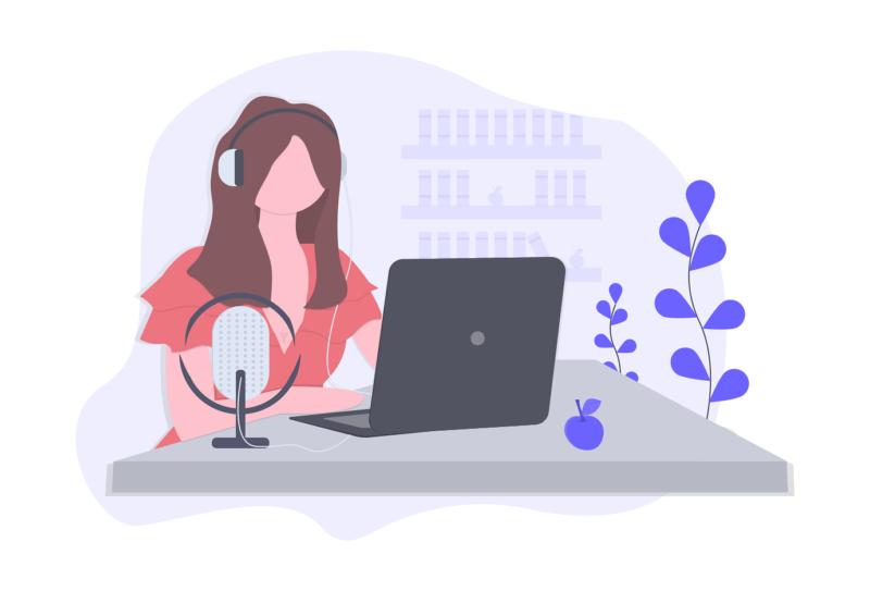 Illustration of woman listening to radio online