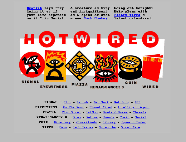Screenshot of Hotwired, soon after launch