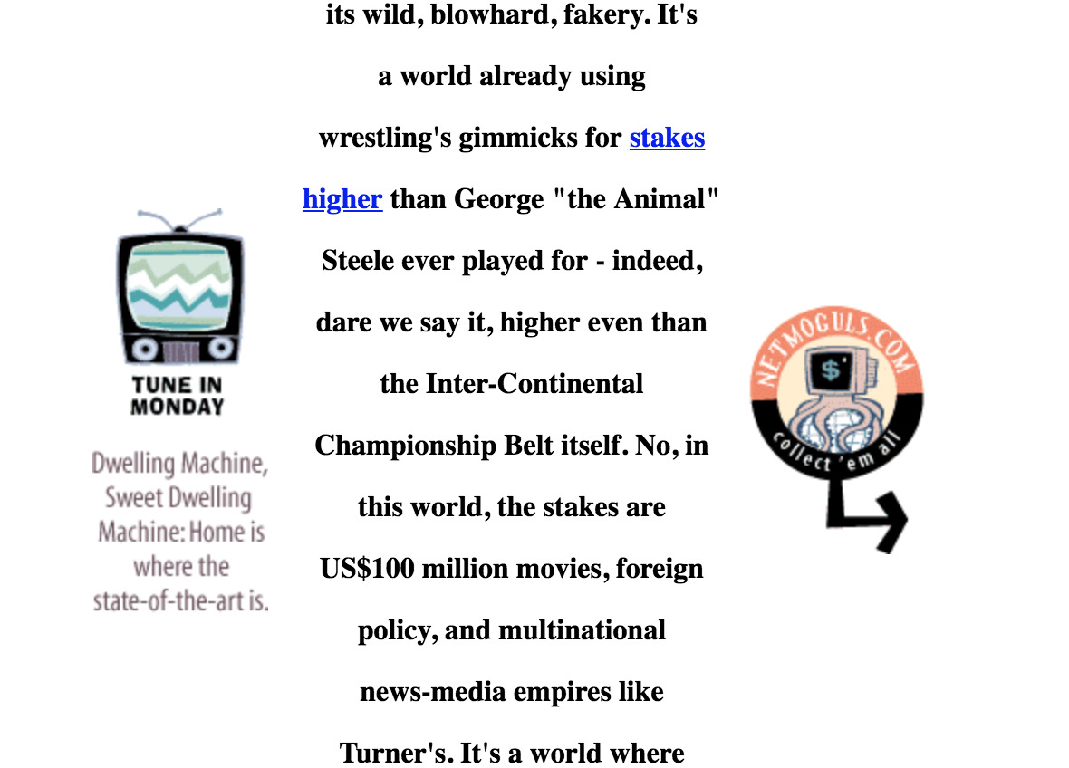 Screenshot of content from Suck in 1997