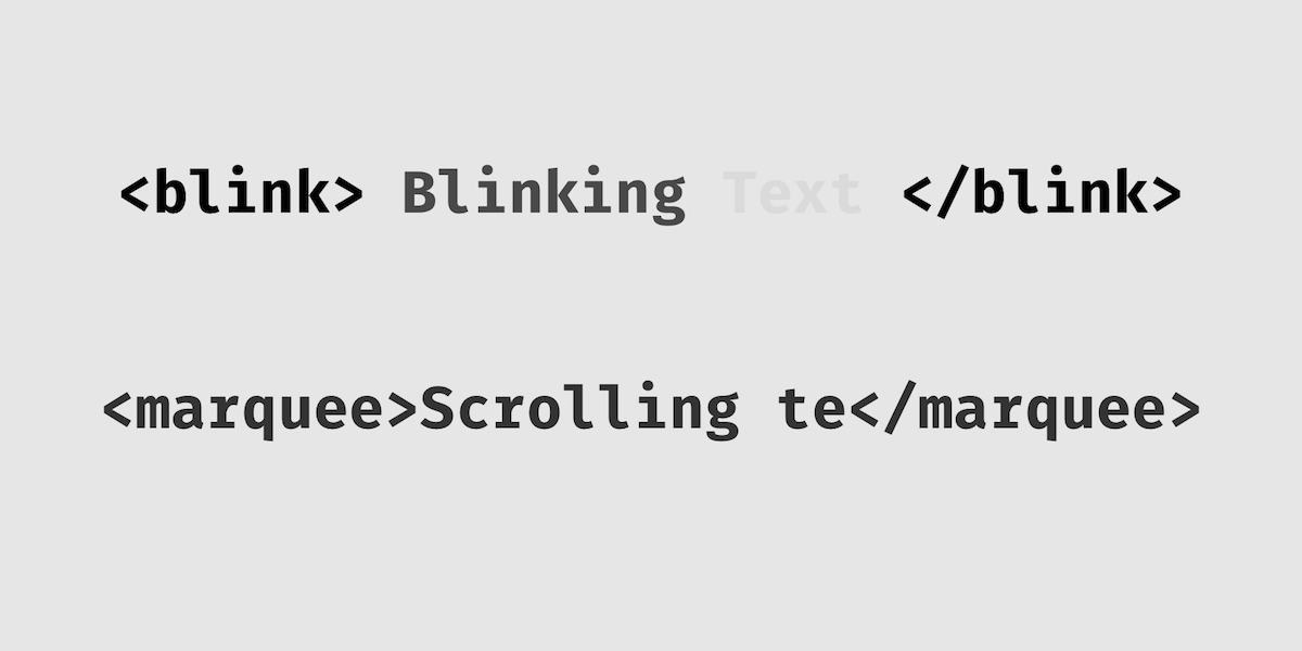 Marquee and Blink tag syntax