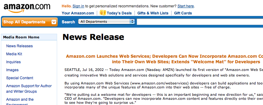 Press release with the announcement for AWS