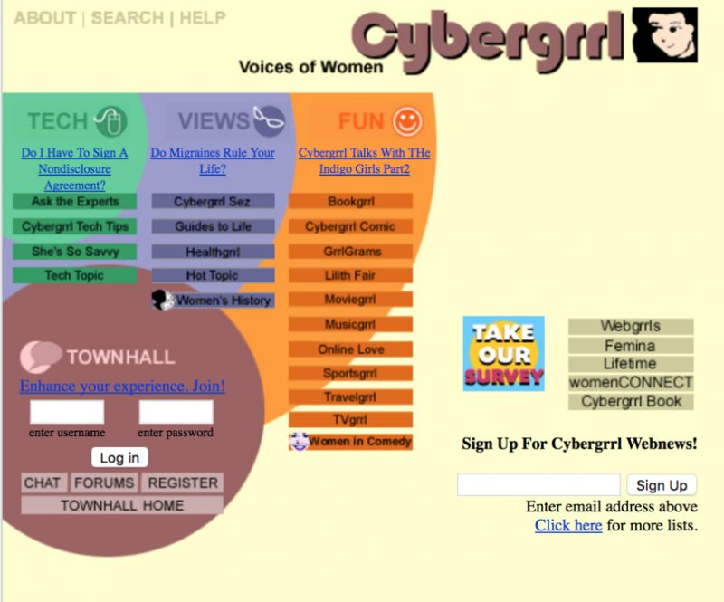 Screenshot of the Cybergrrrl website by Aliza Sherman