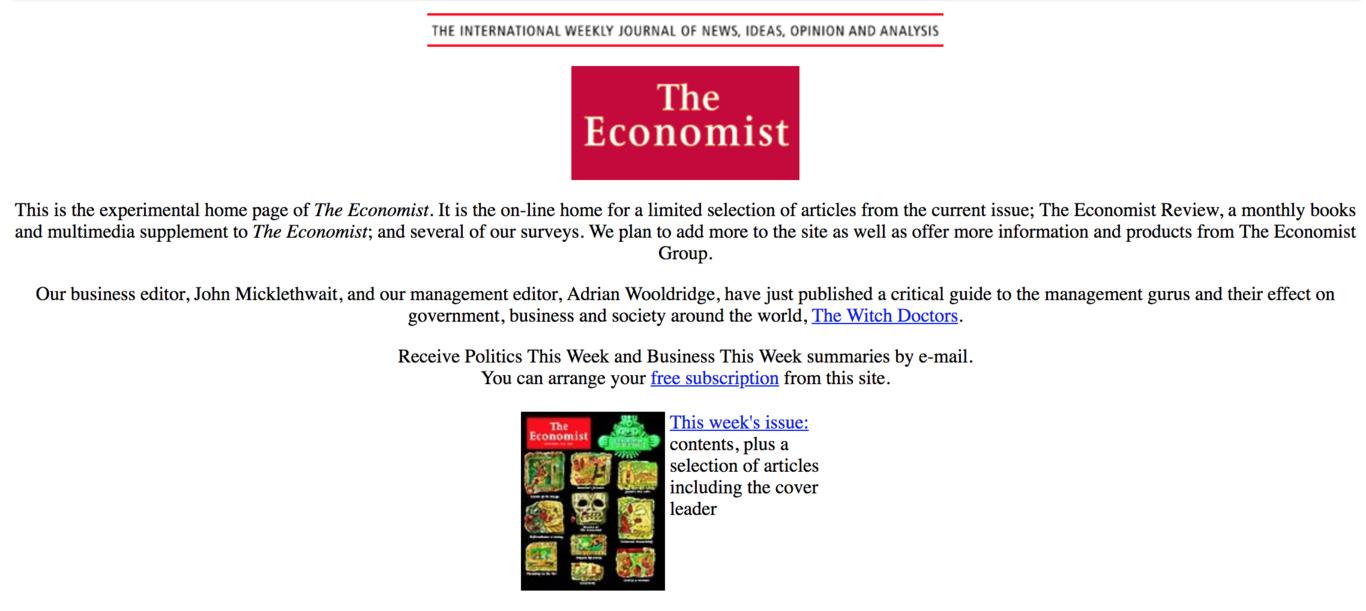The Economist website circa 1996