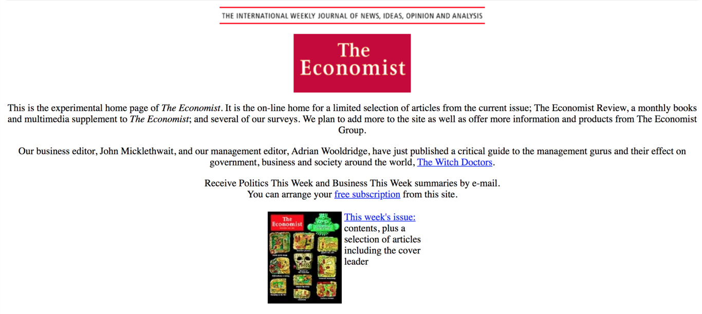 The Economist website circa 1996