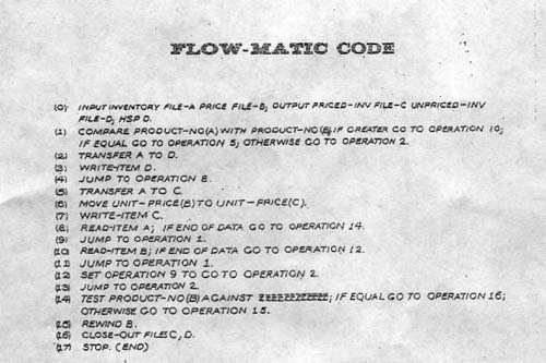 An example of FLOW-MATIC code