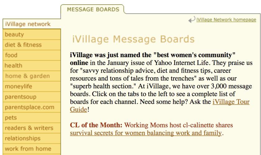 Screenshot of iVillage message boards