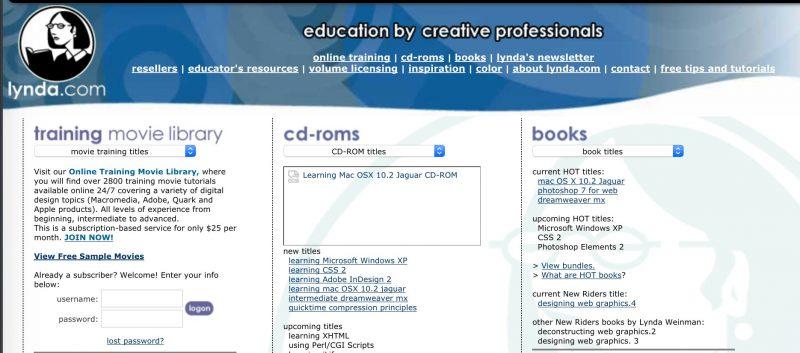Homepage of Lynda.com around 2003