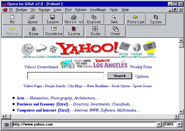Screenshot of what the second version of Opera looked like