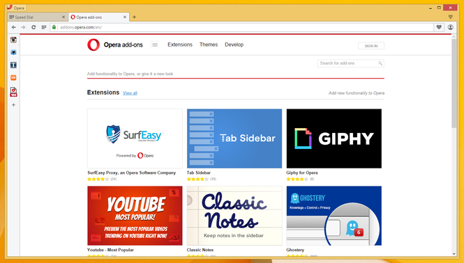 A recent screenshot of the Opera browser