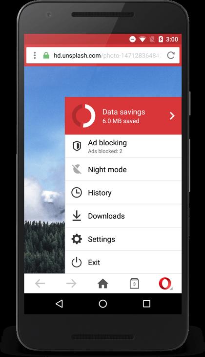 A more recent screenshot of Opera Mini running on a smartphone