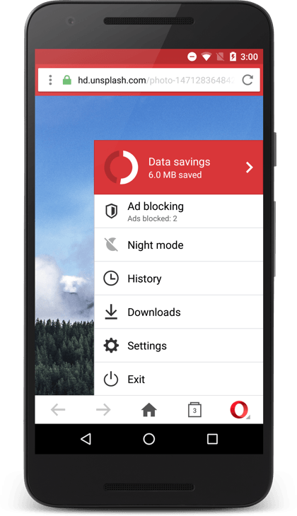 A more recent screenshot of Opera Mini running on a smartphone
