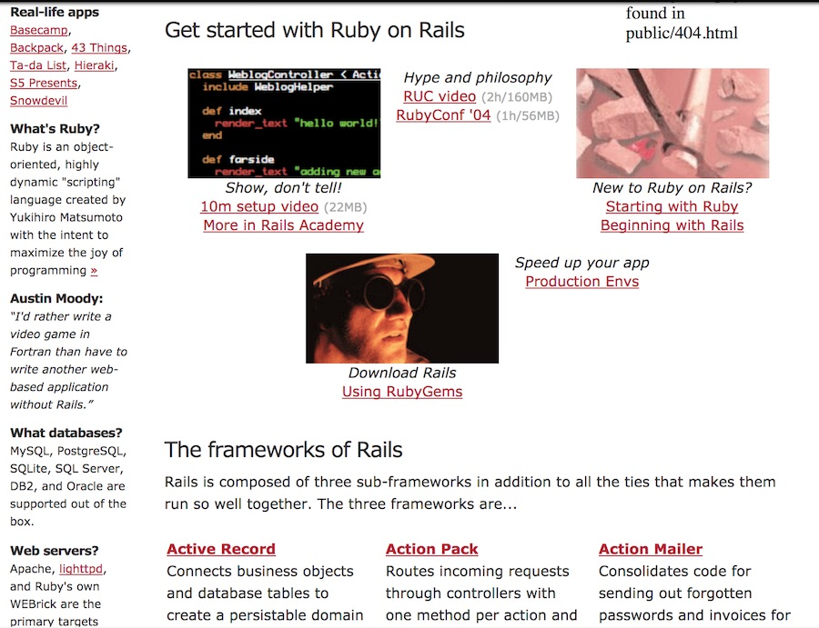 Ruby on Rails website in the early days