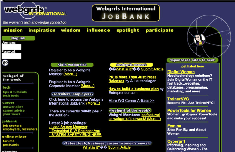 Screenshot of Webgrrrls website in the 90's
