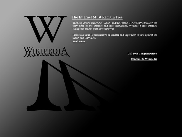 Screenshot of Wikipedia during SOPA protest
