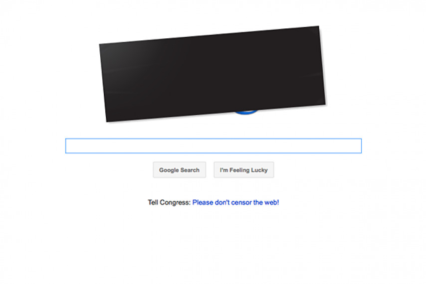 Screenshot of Google during SOPA protest