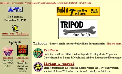 Screenshot from Tripod in the early days, when it was an online magazine