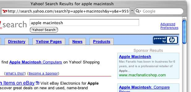 Screenshot of Yahoo with search results from Overture