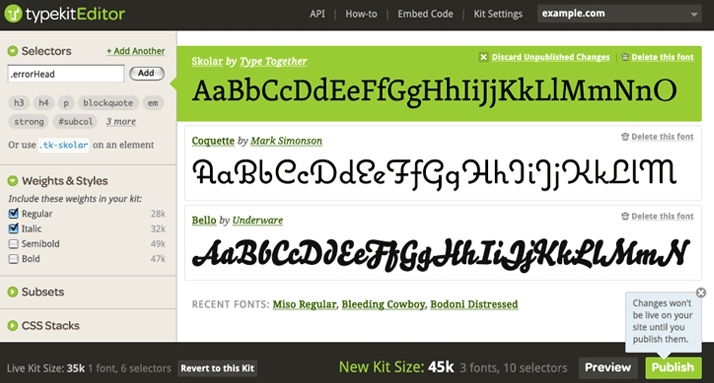 Typekit's earliest design