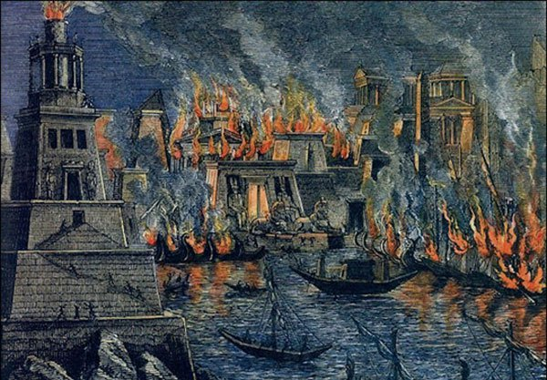The Library of Alexandria burns down