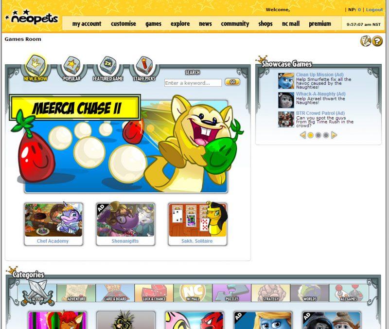 Neopets homepage screenshot circa 2016