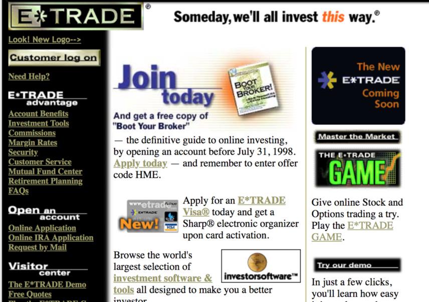 Screenshot of E-Trade website from around 1998