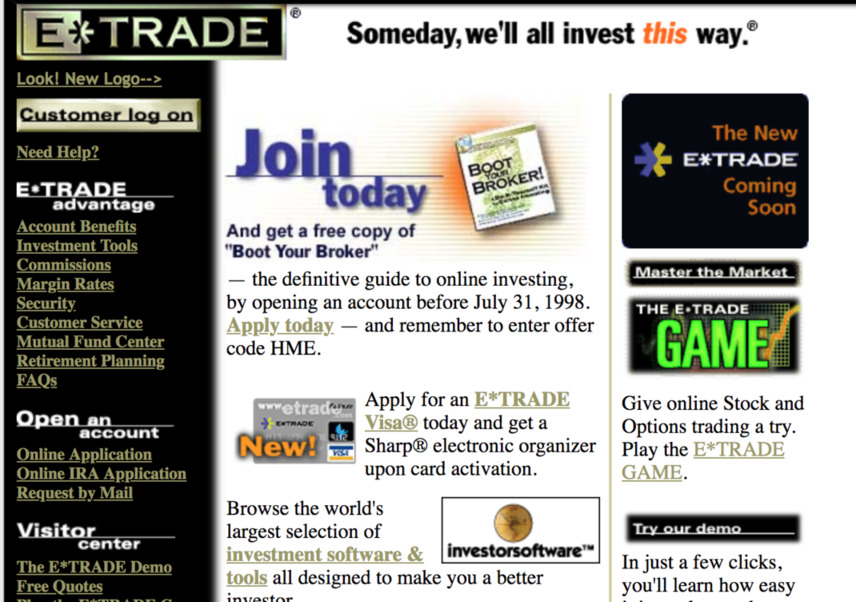 Screenshot of E-Trade website from around 1998