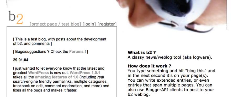 Screenshot of b2 website