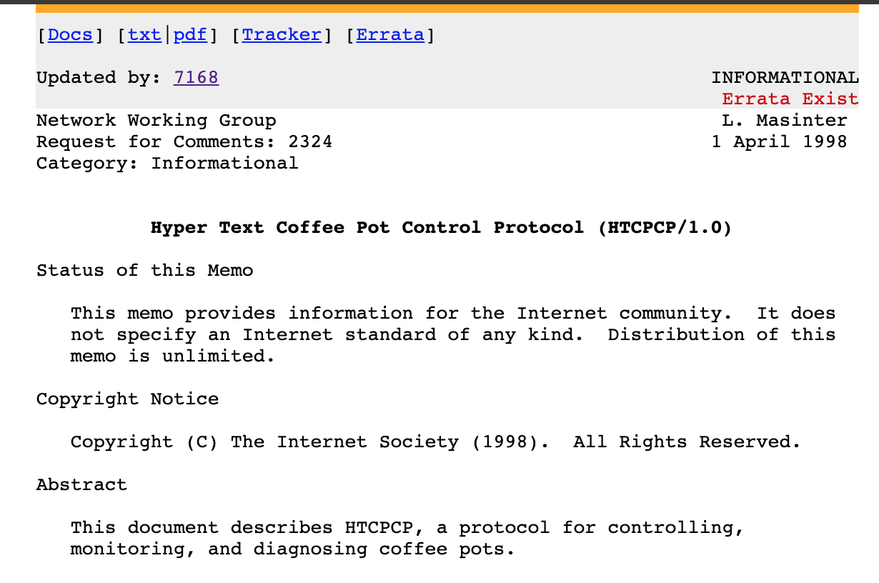 A screenshot of RFC 2324, which was published on April 1st, 1998