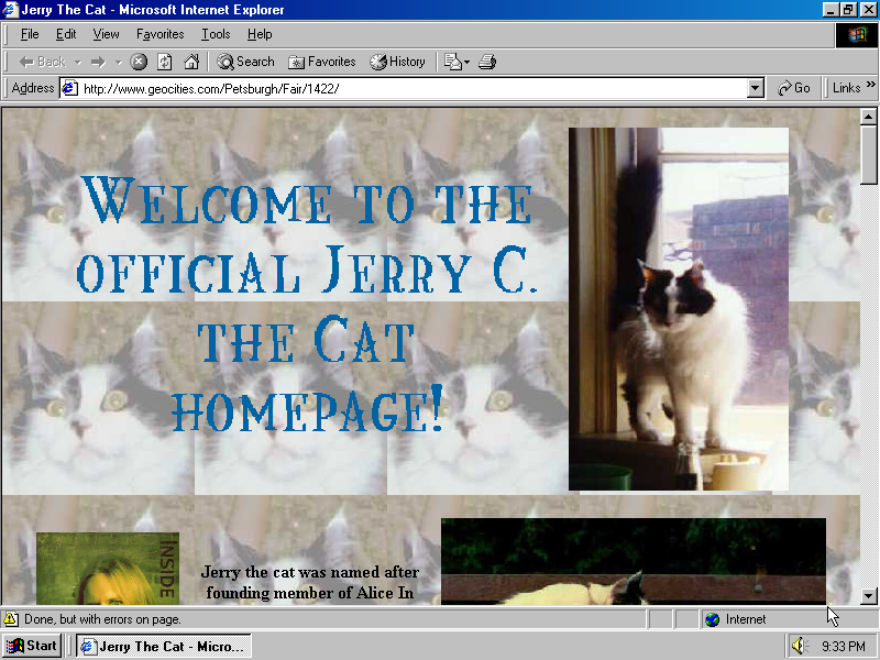 Example of an over-the-top Geocities webpage