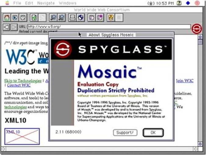 Screenshot of a commercial version of the Spyglass version of Mosaic