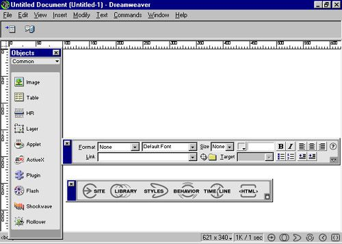 The Dreamweaver interface in 1997