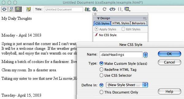 CSS features as they looked in Dreamweaver MX