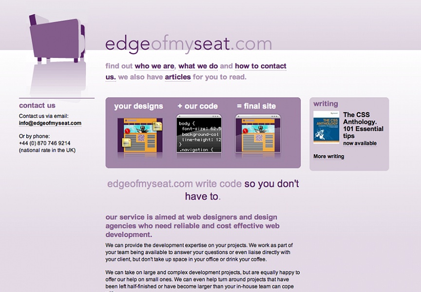 Edgeofmyseat.com Homepage design