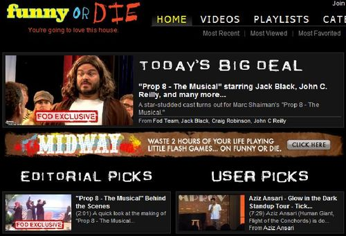 A screenshot of the Funny or Die homepage in the first few years