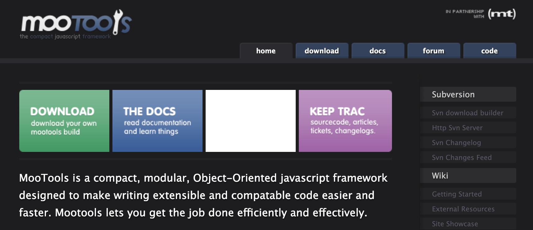 Screenshot of the MooTools website in 2007