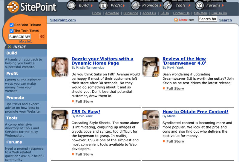Screenshot of an early iteration of Sitepoint form shortly after it launched