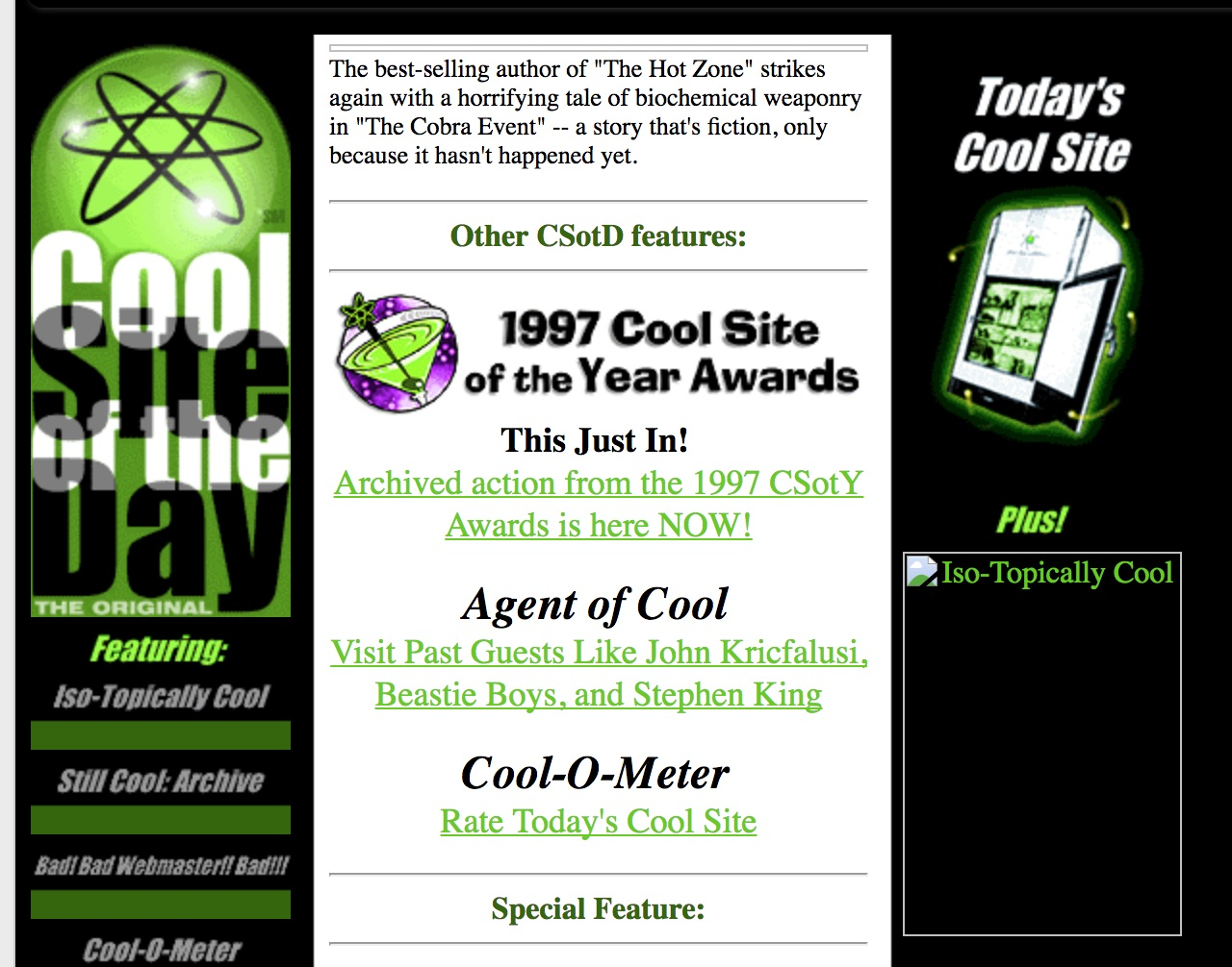 """Screenshot from the site """"Cool Site of the Day"""" circa 1998"""