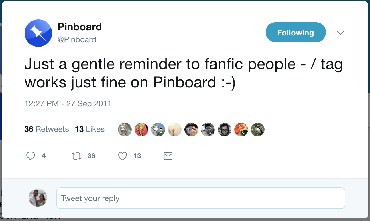 Pinboard tweet letting fans know that Pinboard supports the slash