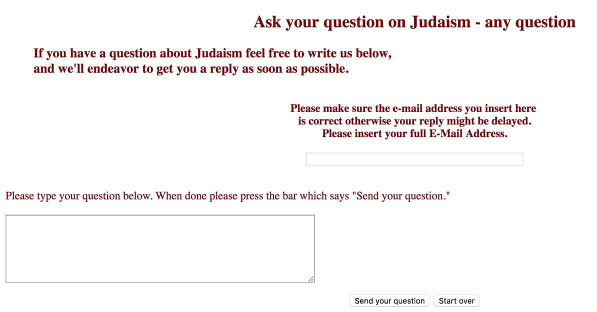 Ask a Rabbi section of the Chabad website