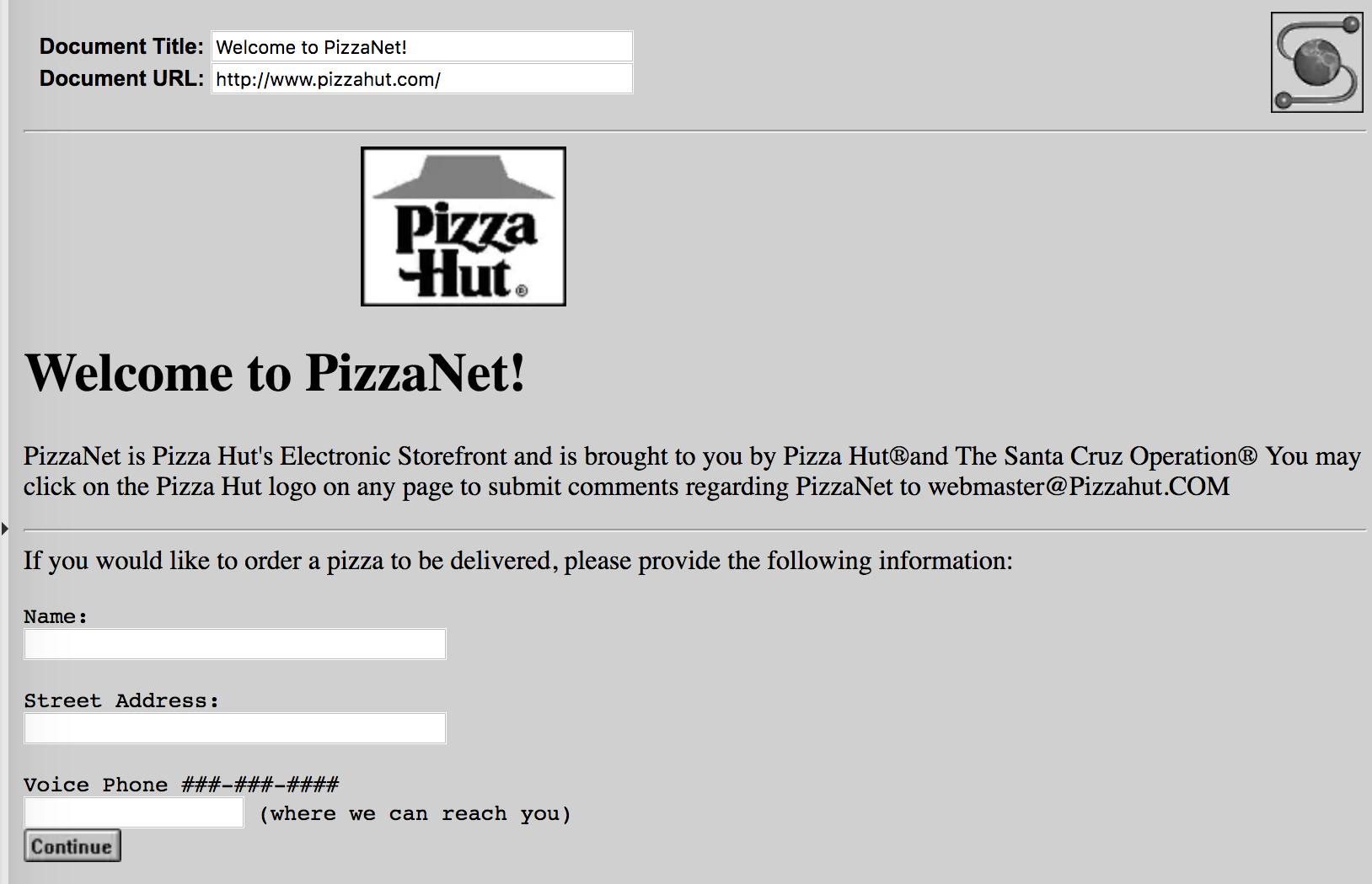 Screenshot of the PizzaNet website from when it launched in 1994