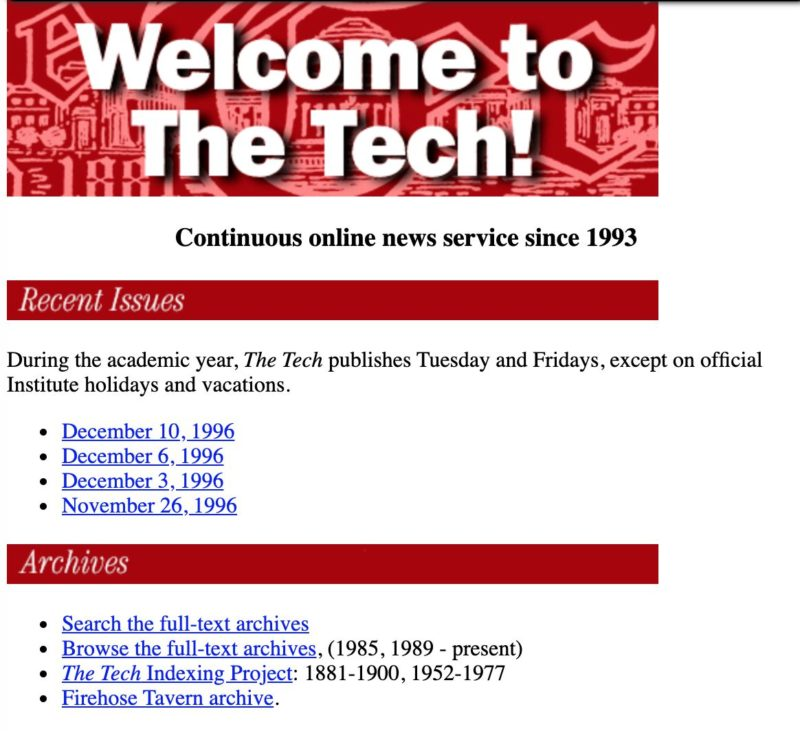 A screenshot of the Tech from 1996