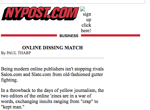 "NY Post Article from 2002 with the headline ""Online Dissing Match"""