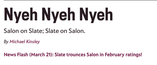 "Salon article from 2003 with the headline ""Nyeh Nyeh Nyeh"""