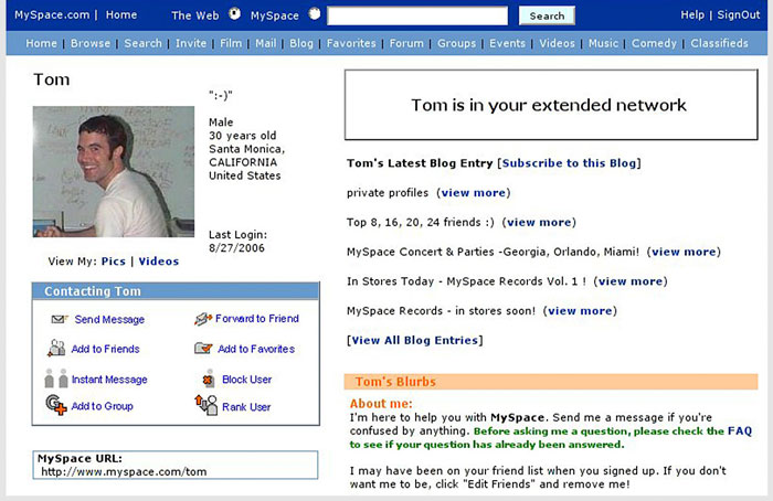 Screenshot of the profile for Myspace co-founder Tom Anderson